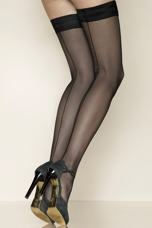 Gerbe Sevilla Seamed Fishnet Hold Ups